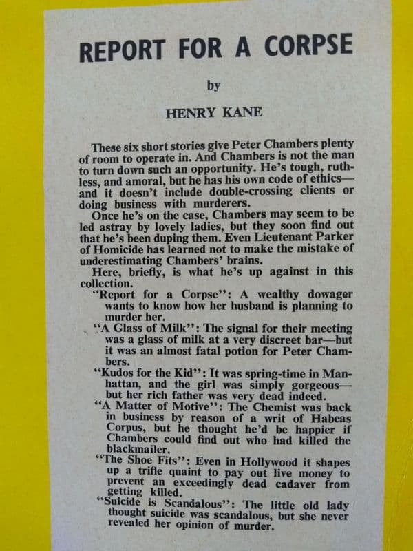 Boardman books. Report for a Corpse. (paperback) by Henry Kane.